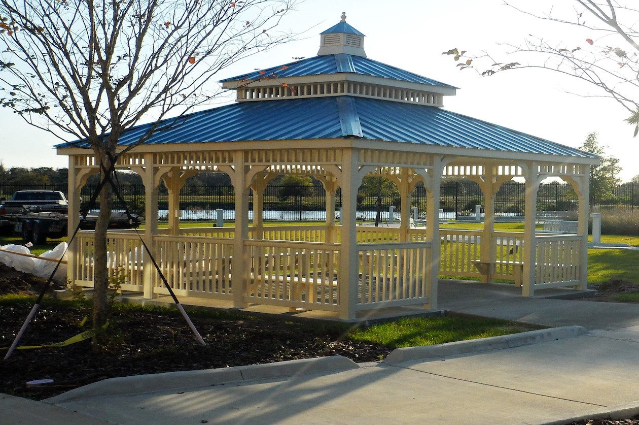 Large gazebo with metal roofing in Long Island NY.